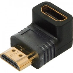 4xem - 4XHDMIMF90 - 4XEM 90 Degree HDMI A Male To HDMI A Female Adapter - 1 x HDMI (Type A) Male Digital Audio/Video - 1 x HDMI (Type A) Female Digital Audio/Video - Gold Connector - Black