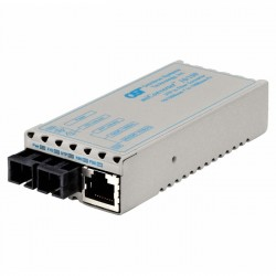 Omnitron - 1103-1-0W - miConverter 10/100 Ethernet Fiber Media Converter RJ45 SC Single-Mode 30km Wide Temp - 1 x 10/100BASE-TX, 1 x 100BASE-LX, No Power Adapter, Lifetime Warranty