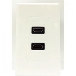 4xem - 4XWALLHDMI2 - 4XEM 2 Port/Outlet Female HDMI Wall Plate (White) - 1-gang - White - 2 x HDMI Port(s)