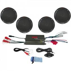 Pyle / Pyle-Pro - PLMRKT4B - Pyle 4 Channel 800 Watt Waterproof Micro Marine Amplifier & 6.5'' Speaker System