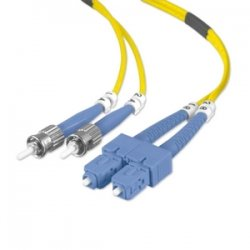 Belkin / Linksys - F2F80207-10M - Belkin Fiber Optic Duplex Patch Cable - ST Male - SC Male - 32.81ft - Yellow