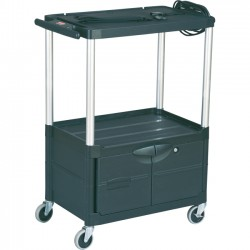 Rubbermaid - 9T32 - Rubbermaid MediaMaster 9T32 Audio-Visual Cart with Cabinet - Up to 24 Screen Support - 200 lb Load Capacity - 3 x Shelf(ves) - 42.4 Height x 18.6 Width - Metal, Aluminum - Black