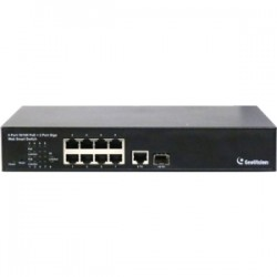 GeoVision - GV-POE0801 - GeoVision GV-POE0801 8-Port 802.3at Web Management PoE Switch - Manageable - 2 Layer Supported - Desktop, Rack-mountable, Under Table