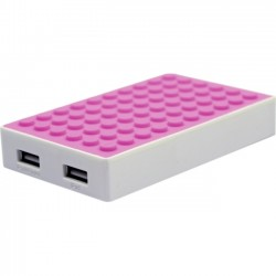Mota / UNorth - BLOCK-PINK - MOTA 4,000 mAh Power Block - PINK - Two Charging USB Ports (Includes portable connectors for: Apple Lightning, Apple 30 pin, Micro USB, Sony PSP)