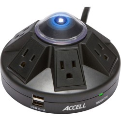 Accell - D080B-015K - Accell Powramid Power Center and USB Charging Station - 6 x AC Power, 2 x USB - 1800 VA - 1080 J - 125 V AC Input - 5 V DC Output