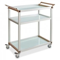 Safco - 8969SL - Safco Mobile Beverage Cart - 4 Casters - Tempered Glass - 35 Width x 24.8 Depth x 35 Height - Silver Aluminum Frame - Frost