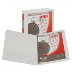 "Samsill - 18117C - Samsill Speedy Spine 181C Ring Binder - 1/2"" Binder Capacity - Letter - 8 1/2"" x 11"" Sheet Size - 125 Sheet Capacity - 3 x Round Ring Fastener(s) - 2 Internal Pocket(s) - Polyvinyl Chloride (PVC), Paperboard, Vinyl, Chipboard - White -"