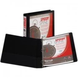 "Samsill - 18130C - Samsill Black Speedy Spine View Binders - 1"" Binder Capacity - Letter - 8 1/2"" x 11"" Sheet Size - 225 Sheet Capacity - 3 x Round Ring Fastener(s) - 2 Internal Pocket(s) - Polyvinyl Chloride (PVC), Paperboard, Vinyl, Chipboard - Black -"