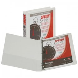 "Samsill - 18137C - Samsill Speedy Spine 181C Ring Binder - 1"" Binder Capacity - Letter - 8 1/2"" x 11"" Sheet Size - 225 Sheet Capacity - 3 x Round Ring Fastener(s) - 2 Internal Pocket(s) - Polyvinyl Chloride (PVC), Paperboard, Vinyl, Chipboard - White -"
