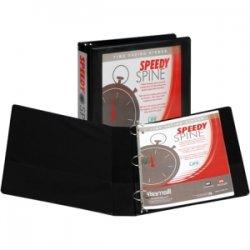 "Samsill - 18150C - Samsill Speedy Spine 181C Ring Binder - 1 1/2"" Binder Capacity - Letter - 8 1/2"" x 11"" Sheet Size - 350 Sheet Capacity - 3 x Round Ring Fastener(s) - 2 Internal Pocket(s) - Polyvinyl Chloride (PVC), Paperboard, Chipboard, Vinyl - Black"