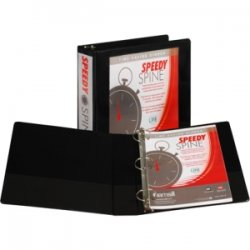 "Samsill - 18160C - Samsill Black Speedy Spine View Binders - 2"" Binder Capacity - Letter - 8 1/2"" x 11"" Sheet Size - 450 Sheet Capacity - 3 x Round Ring Fastener(s) - 2 Internal Pocket(s) - Polyvinyl Chloride (PVC), Paperboard, Chipboard, Vinyl - Black -"