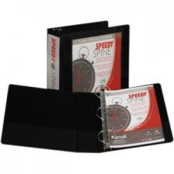 "Samsill - 18180C - Samsill Black Speedy Spine View Binders - 3"" Binder Capacity - Letter - 8 1/2"" x 11"" Sheet Size - 575 Sheet Capacity - 3 x Round Ring Fastener(s) - 2 Internal Pocket(s) - Polyvinyl Chloride (PVC), Paperboard, Chipboard, Vinyl - Black -"