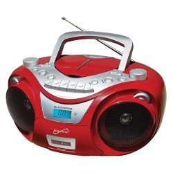 Supersonic - SC-739BTRED - Supersonic Portable Bluetooth Audio System - 1 x Disc Integrated - Red LCD - 99 Programable Tracks - CD-DA, MP3 - 1710 kHz, 108 MHz - USB - Auxiliary Input