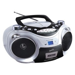 Supersonic - SC-739BTSLVR - Supersonic Portable Bluetooth Audio System - 1 x Disc Integrated - Silver LCD - 99 Programable Tracks - CD-DA, MP3 - 1710 kHz, 108 MHz - USB - Auxiliary Input