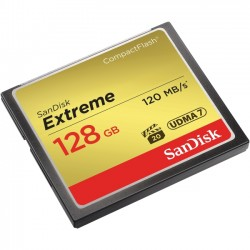 SanDisk - SDCFXS-128G-A46 - SanDisk Extreme 128 GB CompactFlash - 120 MB/s Read - 120 MB/s Write - 1 Card - 400x Memory Speed