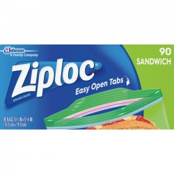 S.C. Johnson & Son - 664545 - Ziploc Sandwich Bags - 5.88 Width x 6.50 Length - Clear - 1Box - 90 Per Box - Sandwich, Food