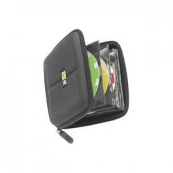 Case Logic - CDE-24 - Case Logic 24 Capacity Heavy Duty CD Wallet - Book Fold - Fabric - Black - 24 CD/DVD