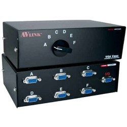 QVS - CA298-6S - QVS HD15 VGA/SXGA Premium Manual Switch - 1280 x 1024 - SXGA - 6 x 11 x VGA Out