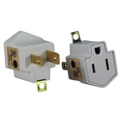 QVS - PA-2PK - QVS 2-Pack 3-Prong to 2-Prong Power Adaptor - 125 V AC / 15 A