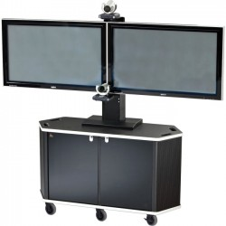 AVFI - PACKAGE-E - VFI PL3072 Cart with PM-D Mount - 40 to 70 Screen Support - 220 lb Load Capacity - 74.5 Height x 60 Width x 21.3 Depth - Powder Coated Black - Acrylic, Steel, Metal - Black