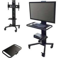 AVFI - PACKAGE-F - VFI Package F PM-S-FL Stand + PM-DSH Desk Surface - Up to 80 Screen Support - 220 lb Load Capacity - 1 x Shelf(ves) - 86 Height x 26 Depth - Steel - Black