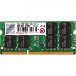 Transcend - TS1GSK72V3H-i - Transcend 8GB DDR3 1333 ECC-SO-DIMM CL9 2Rx8 IND - 8 GB (1 x 8 GB) - DDR3 SDRAM - 1333 MHz DDR3-1333/PC3-10600 - 1.50 V - ECC - Unbuffered - 204-pin - SoDIMM