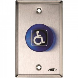 HES / Assa Abloy - 906-MA X 32D - RCI 906-MA Push Button - Single Gang - Blue - Stainless Steel