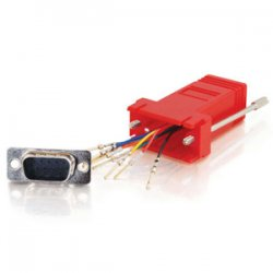 C2G (Cables To Go) - 02944 - C2G RJ45 to DB9 Female Modular Adapter - Red - 1 x RJ-45 Serial - 1 x DB-9 Female Serial - Red