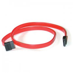 C2G (Cables To Go) - 10183 - C2G 36in 7-pin 180° to 90° 1-Device Serial ATA Cable - Female SATA - Female SATA - 3ft - Translucent Red