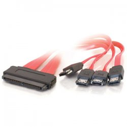 C2G (Cables To Go) - 10251 - C2G 1m SAS 32-pin to Four External Serial ATA Cable - SFF-8484 - eSATA - 3.28ft - Red