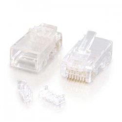 C2G (Cables To Go) - 27572 - C2G RJ45 Cat5E Modular Plug (with Load Bar) for Round Solid/Stranded Cable - 10pk - RJ-45