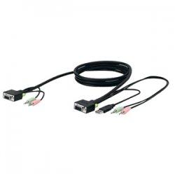 Belkin / Linksys - F1D9103-10 - Belkin SOHO KVM Replacement Cable Kit - 10 ft - 1 x HD-15 Female VGA, 2 x Mini-phone Male Stereo Audio - 1 x HD-15 Male VGA, 1 x Type A Male USB, 2 x Mini-phone Male Stereo Audio - Gray