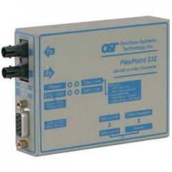 Omnitron - 4485-2 - FlexPoint RS-232 Serial Fiber Media Converter DB-9 ST Single-mode 30km - 1 x RS-232; 1 x ST Single-mode; Univ. AC Powered; Lifetime Warranty