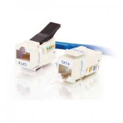 C2G (Cables To Go) - 35219 - C2G Cat6 RJ45 UTP Toolless Keystone Jack - White - RJ-45, 110