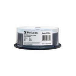 Verbatim / Smartdisk - 97334 - Verbatim BD-R DL 50GB 6X DataLifePlus White Inkjet Printable, Hub Printable - 25pk Spindle - 50GB - 120mm Standard - 25 Pack Spindle