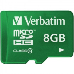 Verbatim / Smartdisk - 44042 - Verbatim 8GB Tablet microSDHC Memory Card, UHS-1 Class 10 Green - UHS-1 (Class 10) - Green