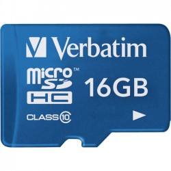 Verbatim / Smartdisk - 44043 - Verbatim 16GB Tablet microSDHC Memory Card, UHS-1 Class 10 Blue - UHS-1/Class 10 - Blue - 1pk