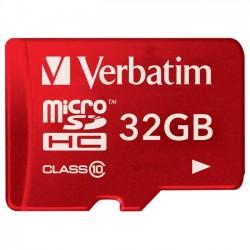 Verbatim / Smartdisk - 44044 - Verbatim 32GB Tablet microSDHC Memory Card, UHS-1 Class 10 Red - UHS-1/Class 10 - Red - 1pk