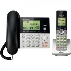 AT&T / VTech - CS6949 - VTech CS6949 DECT 6.0 Standard Phone - Black, Silver - Corded/Cordless - 1 x Phone Line - 1 x Handset - Speakerphone - Answering Machine - Hearing Aid Compatible
