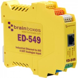 Brainboxes - ED-549 - Brainboxes Ethernet to Analogue 8 Inputs - 1 x Network (RJ-45) - 1 x Serial Port - Fast Ethernet - Rail-mountable