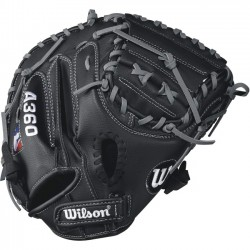Wilson Sports - WTA03RB17CM325 - Wilson A360 32.5 Catchers Baseball Glove - Right Hand Throw - 32.5 Size Number - Half Moon Web - Pigskin Leather - Black, Gray - Hook & Loop Strap - For Baseball