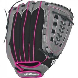 Wilson Sports - WTA04LF16115 - Wilson FLASH FP 115 Utility - 11.5 - Trap Web - Leather, Woven Fabric - Pink - Lightweight, Flexible, Hook & Loop Wrist Closure - For Fastpitch Softball