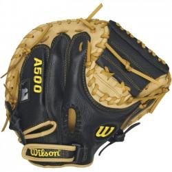 Wilson Sports - WTA05RB16CM - Wilson A500 32 Catchers Mitt - Right Hand Throw - Junior Size - Top Grain Leather - Black, Blonde