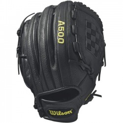 Wilson Sports - WTA05RB1712 - Wilson A500 12 Baseball Glove - Right Hand Throw - 12 Size Number - T-Web - Top Grain Leather Shell, Leather Lace - Black - Dual Welting, Durable, Flexible - For Baseball