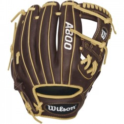 Wilson Sports - WTA08RB16115 - Wilson A800 Showtime 11.5 Baseball Glove - Right Hand Throw - 11.5 Size Number - Leather - Dark Brown, Blonde, Brown - Snug Fit - For Baseball