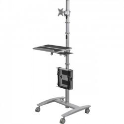 MooreCo - 27614 - Balt Beta Sit-Stand Workstation - 2 Caster Size - Steel - 32 Width x 33 Depth x 67 Height - Platinum