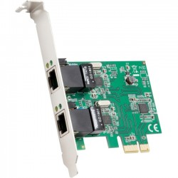 SYBA Multimedia - SD-PEX24041 - SYBA Multimedia 2-Port Ethernet PCIe x1 Card - PCI Express x1 - 2 Port(s) - 2