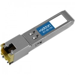AddOn - JX-SFP-1GE-T-AO - AddOn Juniper Networks JX-SFP-1GE-T Compatible TAA Compliant 10/100/1000Base-TX SFP Transceiver (Copper, 100m, RJ-45) - 100% compatible and guaranteed to work