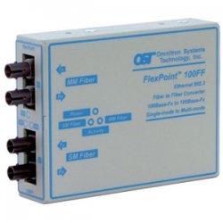 Omnitron - 4410-2 - FlexPoint 100Mbps Ethernet Fiber to Fiber Media Converter ST Multimode 5km to Single-Mode 30km - 1 x 100BASE-FX; 1 x 100BASE-LX; Univ. AC Powered; Lifetime Warranty