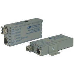 Omnitron - 1230-2-1 - miConverter 10/100/1000 Gigabit Ethernet Single-Fiber Media Converter RJ45 SC Single-Mode BiDi 40km - 1 x 10/100/1000BASE-T; 1 x 1000BASE-BX-U (1310/1550); US AC Powered; Lifetime Warranty